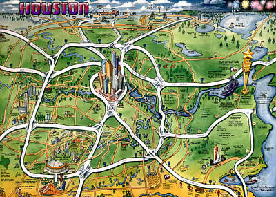 Texas Painting - Houston Texas Cartoon Map by Kevin Middleton