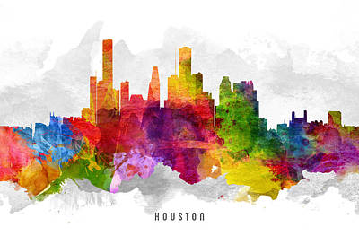 Towns Digital Art - Houston Texas Cityscape 13 by Aged Pixel