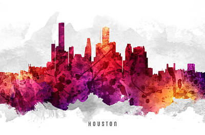 Towns Digital Art - Houston Texas Cityscape 14 by Aged Pixel