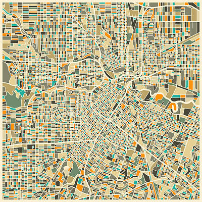 Abstract Map Digital Art - Houston Texas Map by Jazzberry Blue