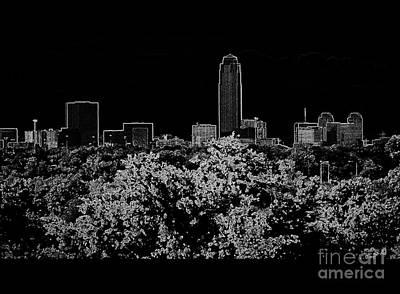 Houston Texas Neon Skyline Black And White Art Print by Ella Kaye Dickey