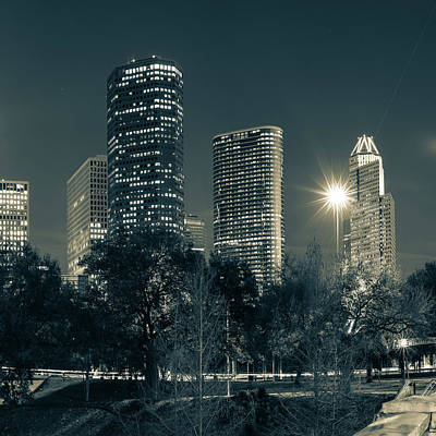 Photograph - Houston Texas Sepia Skyline Cityscape 1x1 by Gregory Ballos
