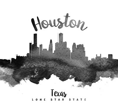 Towns Digital Art - Houston Texas Skyline 18 by Aged Pixel
