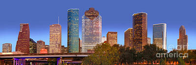 City Sunset Photograph - Houston Texas Skyline At Dusk by Jon Holiday