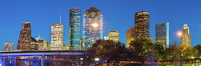 Photograph - Houston Texas Skyline At Dusk - Panoramic Cityscape Image by Gregory Ballos