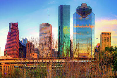 Photograph - Houston Texas Skyline At Sunset by Gregory Ballos