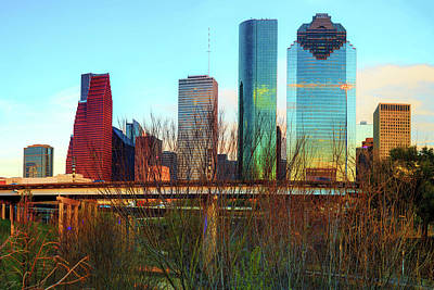 Photograph - Houston Texas Skyline From Sabine Street Bridge by Gregory Ballos