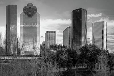 Photograph - Houston Texas Skyline Monochrome by Gregory Ballos