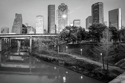 Photograph - Houston Texas Skyline On The Buffalo Bayou - Black And White by Gregory Ballos
