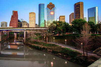 City Scene Photograph - Houston Texas Skyline On The Buffalo Bayou by Gregory Ballos