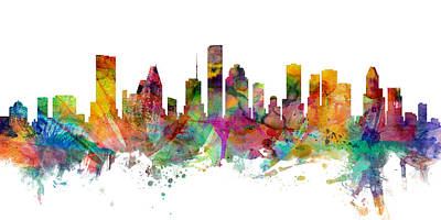 Digital Art - Houston Texas Skyline Panoramic by Michael Tompsett