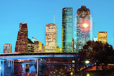 Photograph - Houston Texas Skyline - Turquoise Dusk Skies by Gregory Ballos