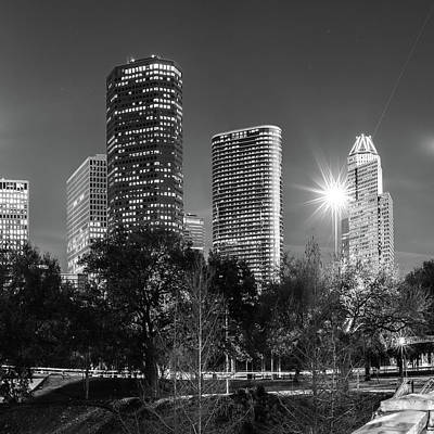 Photograph - Houston Texas Usa Skyline Black White 1x1 by Gregory Ballos