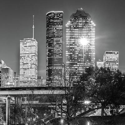 Photograph - Houston Texas Usa Skyline Bw 1x1 by Gregory Ballos