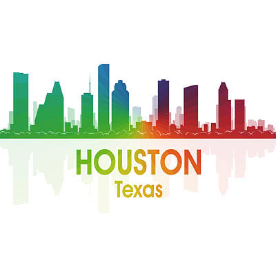Skyscraper Mixed Media - Houston Tx 1 Squared by Angelina Vick