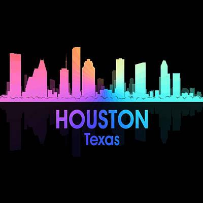 Patriotic Mixed Media - Houston Tx 5 Squared by Angelina Vick