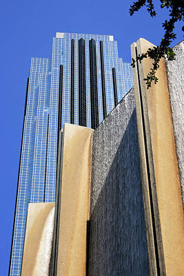 Photograph - Houston Water Wall And Williams Tower by Angela Rath