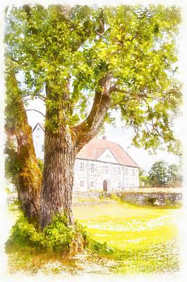 Hovdala Slott Digital Watercolor Painting Print by Antony McAulay