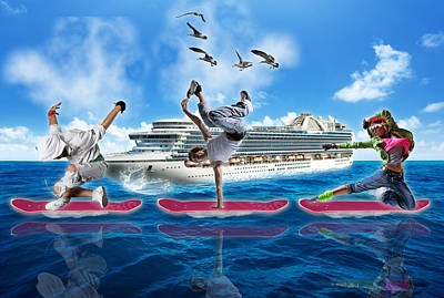 Mixed Media - Hoverboarding Across The Atlantic Ocean by Marvin Blaine