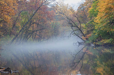 Hovering Mist On The Wissahickon Creek Art Print by Bill Cannon