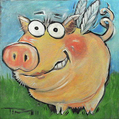 Flying Pig Painting - Hovering Pig by Tim Nyberg