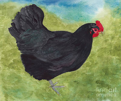 Painting - How Do You Like My Little Black Dress? Iridescent Black Hen by Conni Schaftenaar