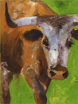 Painting - How Is That Sports Fans Texas Longhorn Oil Painting By Kmcelwaine by Kathleen McElwaine