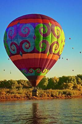 Photograph - How Low Can You Go, Hot Air Balloon Over The Rio Grande River, 2017 Albuquerque Balloon Festival by Flying Z Photography by Zayne Diamond