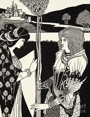 Black And White Fairy Drawing - How Morgan Le Fay Gave A Shield To Sir Tristran by Aubrey Beardsley