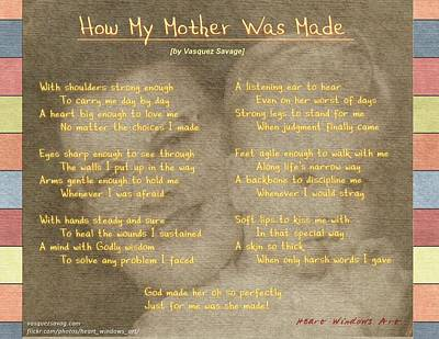 Photograph - How My Mother Was Made by Kathleen Luther