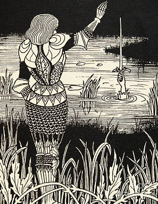 Lake Drawing - How Sir Bedivere Cast The Sword Excalibur Into The Water by Aubrey Beardsley
