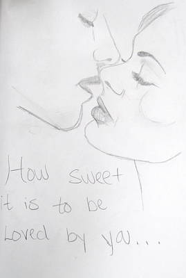 Sweet Kiss Drawing - How Sweet It Is by Rebecca Wood