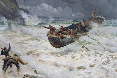 Sea Birds Painting - How The Boat Came Home by  Charles Napier Hemy