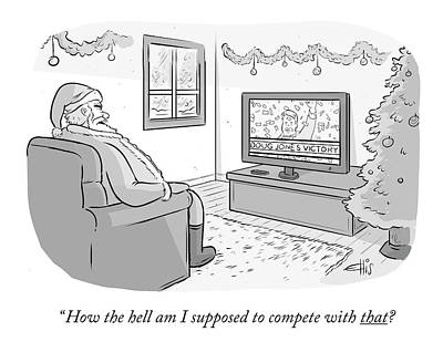 Tv Drawing - How The Hell Am I Supposed To Compete With That by Ellis Rosen