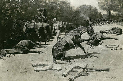 Roadside Painting - How The Horses Died For Their Country At Santiago, 1899 by Frederic Remington