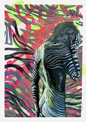 Painting - Rising From Ashes Zebra Boy by Rene Capone
