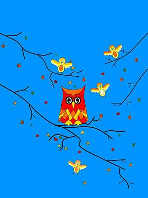 Digital Art - How Tweet It Is Nature - Owls And Birds by Kathleen Sartoris