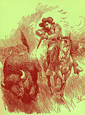 Bison Drawing - How William Cody Came To Be Called Buffalo Bill by Robert Prowse