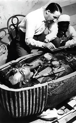 King Tut Photograph - Howard Carter Analyses King Tut  1922 by Daniel Hagerman