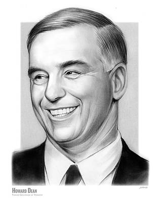 Politicians Drawings - Howard Dean by Greg Joens
