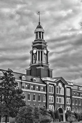 Photograph - Howard J Baker Courthouse Clock Black And White by Sharon Popek
