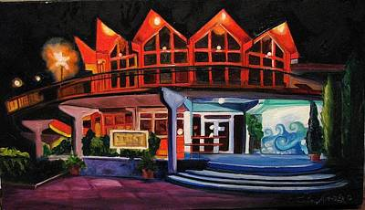 Howard Johnsons At Night Art Print by Patricia Arroyo