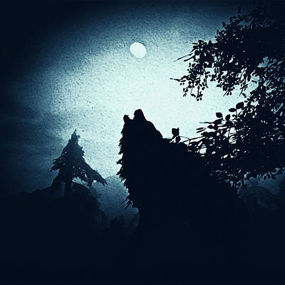 Painting - Howling At The Moon by Andrea Mazzocchetti