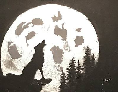 Mixed Media - Howling At The Moon by Justin Lee Williams