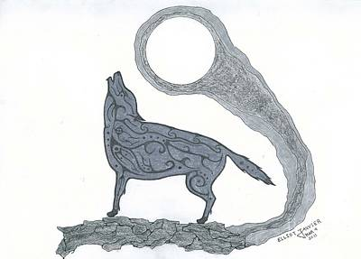 Drawing - Howling by Elliot Janvier