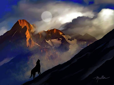 Climate Change Painting - Howling Gray Wolf Grand Teton Moon by Henry Mueller