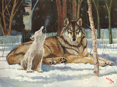 Wolf Pup Painting - Howling Pup Wolf by Emil F Major