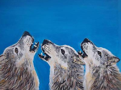 Painting - Howling Trio by Aleta Parks