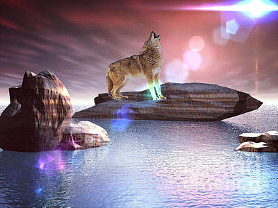 Digital Art - Howling Wolf Beloved by Jacqueline Lloyd