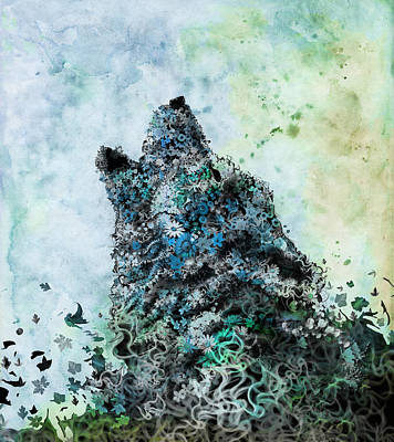 Moody Painting - Howling Wolf Floral 3 by Bekim Art